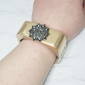 Square chunky gold Cuff with gem embellishment